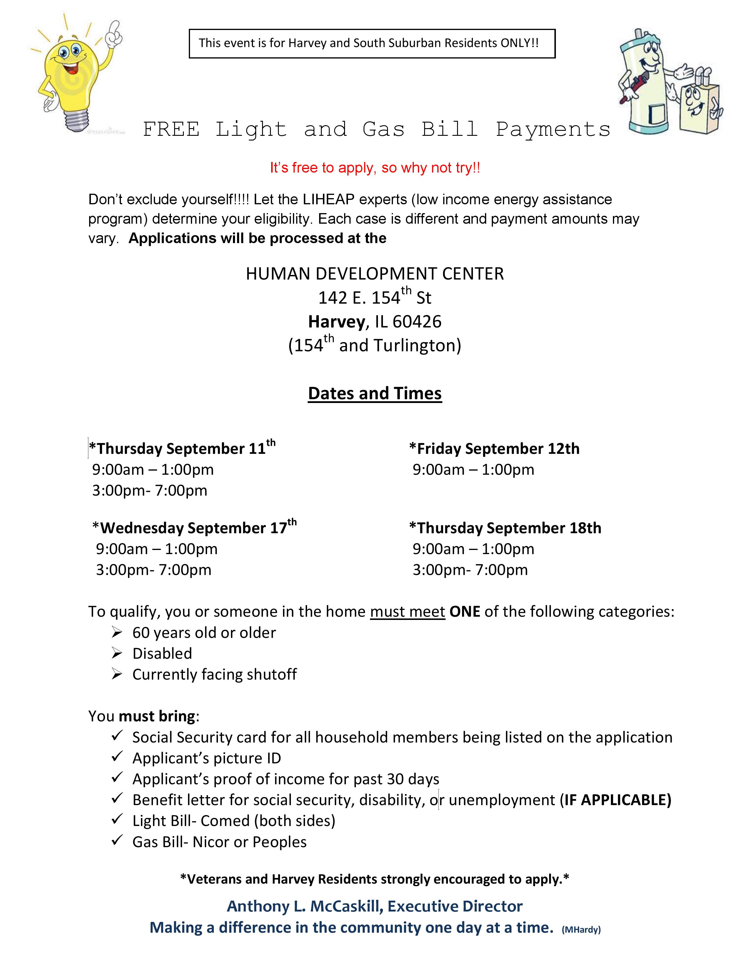 FREE Light and Gas Bill Payments