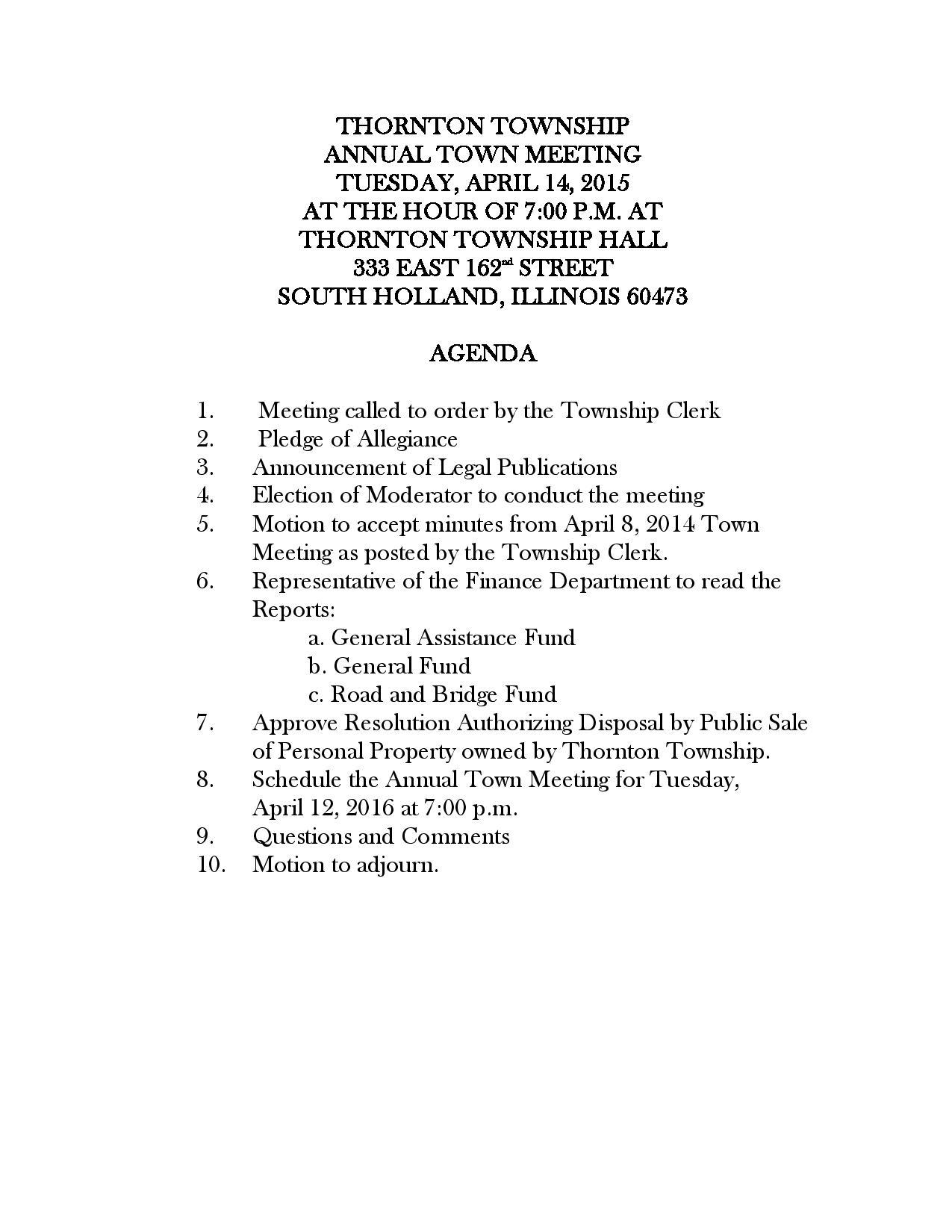 Thornton Township Annial Town Meeting - Tuesday, April 14th - Public Agenda-page-001