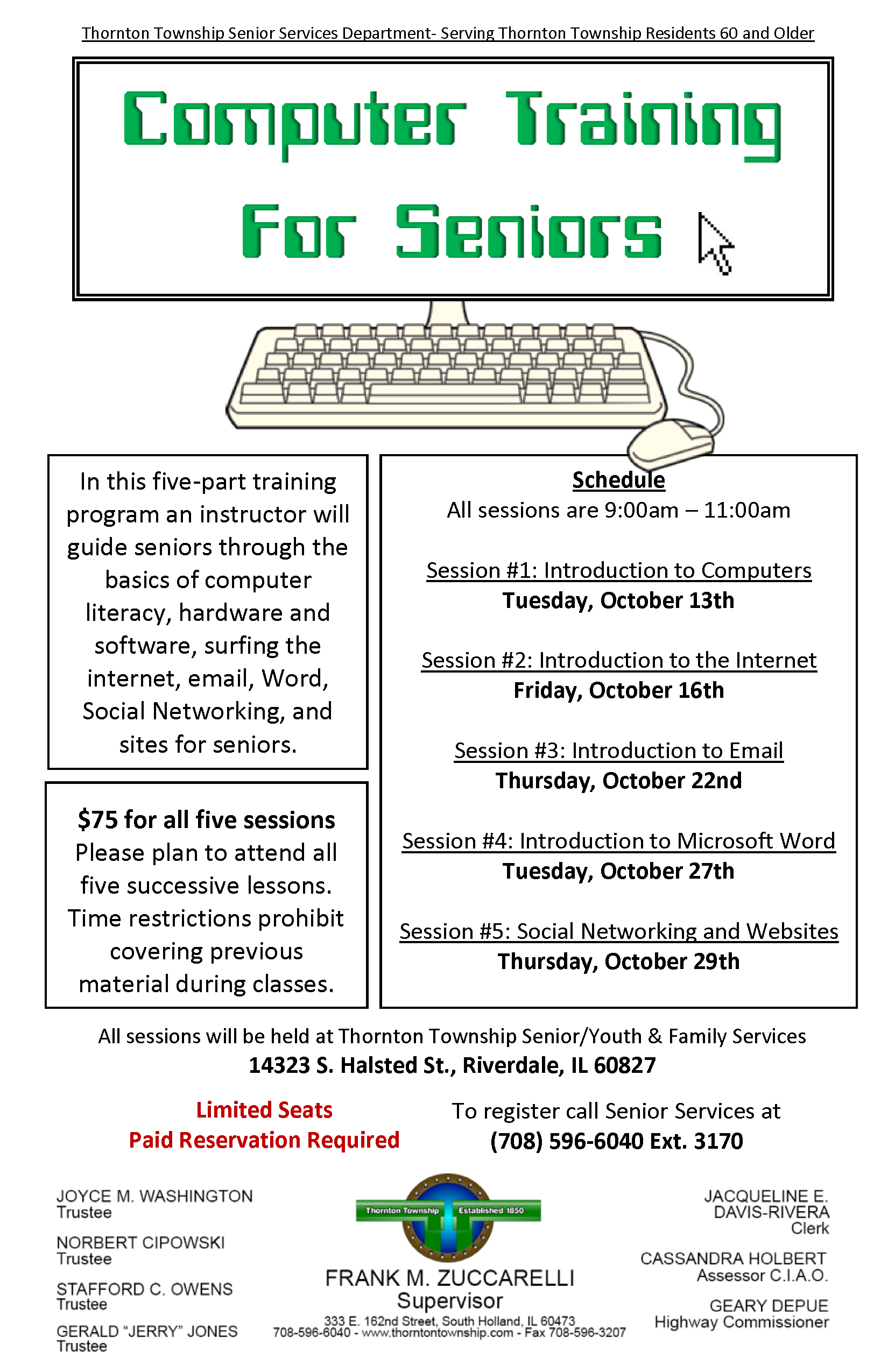 Computer training for seniors 2015 october